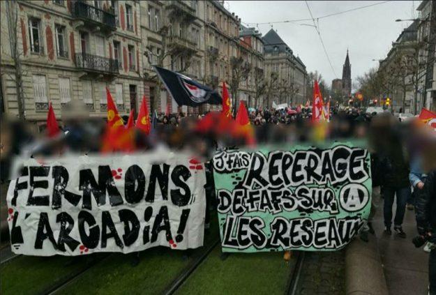 manif contre l'Arcadia à Strasbourg le 20 janvier 2018