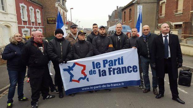 Le service encadrement sécurité du Parti de la France venu du Pas de Calais et de la Somme à Péronne en novembre 2016
