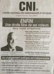 Guy Harlé d'Ophove candidat CNIP aux législative de 1993