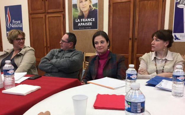 Marie Christine Gilliot en avril 2016 avec d'autres élus FN de l'Aisne dont Mireille Chevet conseillère régionale