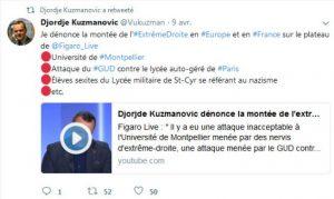 Djorje Kuzmanovic condamnant les attaques de fachos sur la fac de droit de Montpellier et sur le Lycée Autogeré de Paris