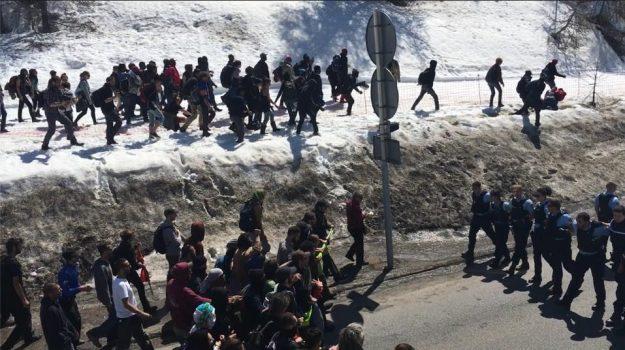 manifestation antifasciste au col de Montgenèvre le 22 avril 2018