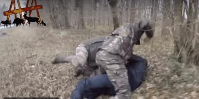 """Les chasseurs n'ayant pas attendu les déclarartion du préfet pour """"passez à l'action"""" contre un militant anti-chasse à Compiègne le 17 mars 2018"""