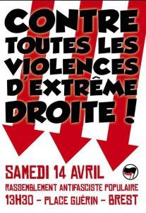 rassemblement contre l'extrême droite à Brest le 14 04 2018