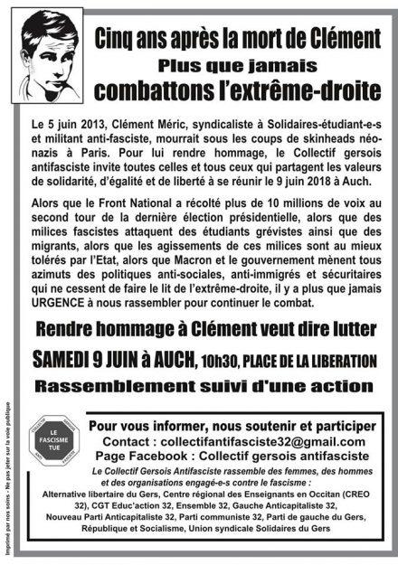 Auch : rassemblement 5 ans après la mort de Clément @ Place de la Libération | Auch | Occitanie | France