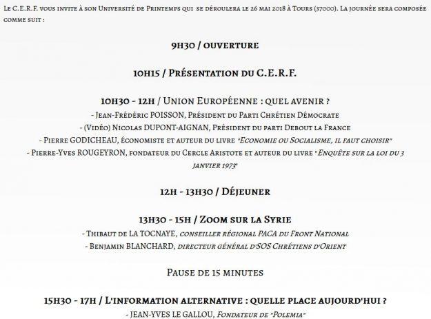Programme du Cercle d'études pour la renaissance française à Tours le 26 mai 2018