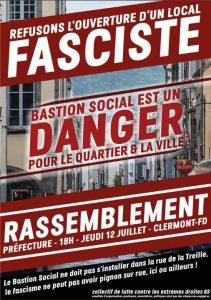 Clermont Ferrand : Rassemblement contre l'ouverture du local du Bastion Social @ Clermont-Ferrand | Auvergne-Rhône-Alpes | France
