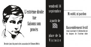 Clermont-Ferrand : Rassemblement contre l'extrême droite, fin du procès Méric @ Clermont-Ferrand | Auvergne-Rhône-Alpes | France