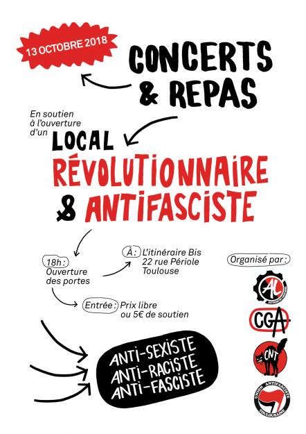 Toulouse : concert et repas en soutien au futur local antifasciste @ L'Itinéraire bis | Toulouse | Occitanie | France