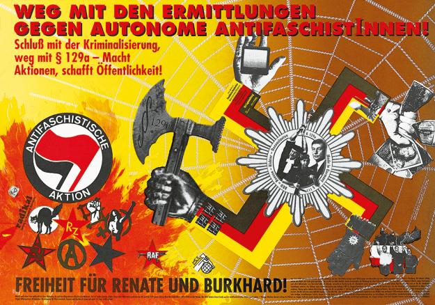 Le nouveaux logo aux côtés d'autres symboles antifascistes, sur une affiche de KuK datant de juin 1989.