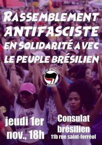 Marseille : Solidarité Antifasciste avec le Peuple Brésilien @ consulat général du Brésil | Marseille | Provence-Alpes-Côte d'Azur | France