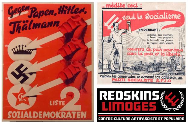 À gauche, le logo original : en haut à droite, sa reprise par la SFIO, et en bas à droite, par les Red Skins de Limoges.