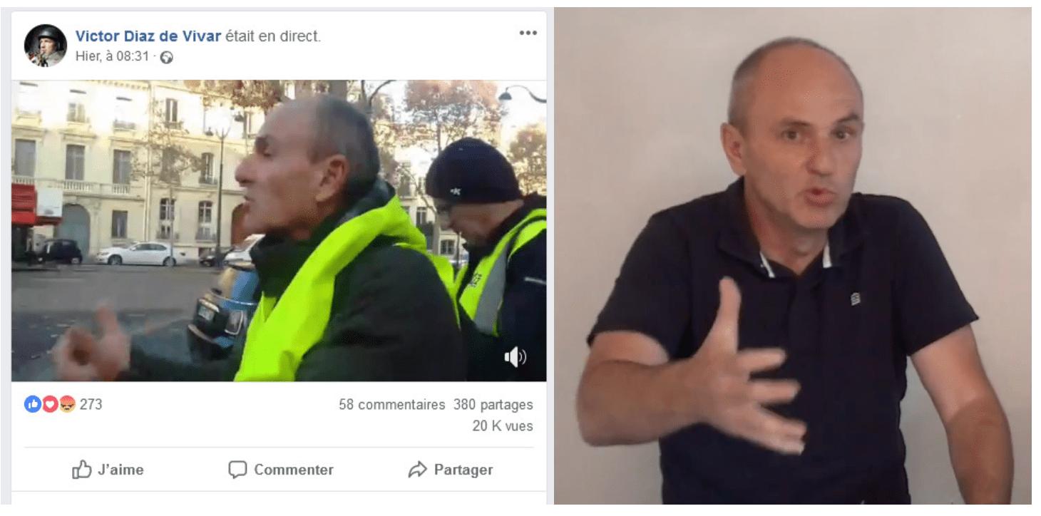 """Frédéric Jamet, à gauche en train de diriger des """"gilets jaunes"""" dans Paris"""
