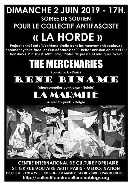 Paris : concert de soutien à La Horde @ CICP