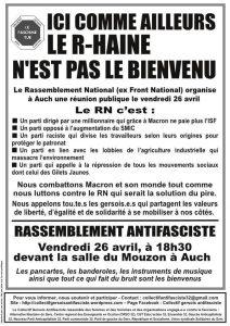 Auch (32) : Rassemblement contre le Rassemblement National @ Salle du Mouzon