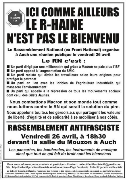 Auch : mobilisation contre le Rassemblement national @ Salle du Mouzon