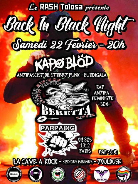 "Toulouse : concert antifa ""Back in Black Night"" @ La Cave à Rock"