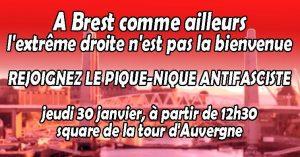 Brest : Pique-nique antifasciste pour la venue de Marine Le Pen @ Square de la Tour d'Auvergne