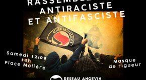 Angers : Rassemblement antiraciste et antifasciste – Samedi 12/09/2020 – 14h Place Molière