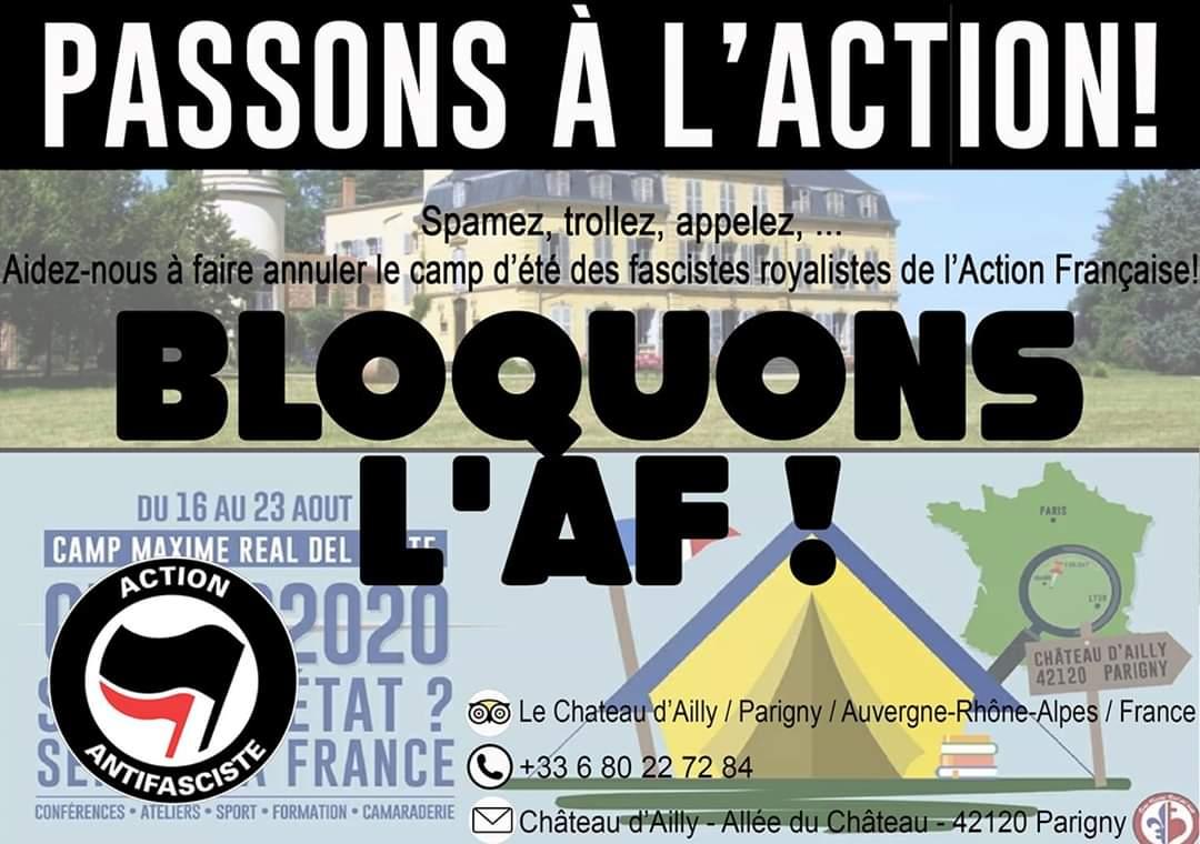 Bloquons le camp d'été de l'Action française !