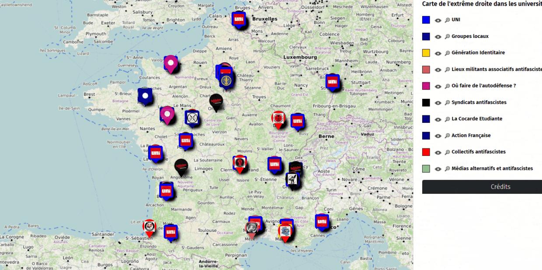 Carte de France de l'extrême droite et des groupes antifas par Solidaires étudiants