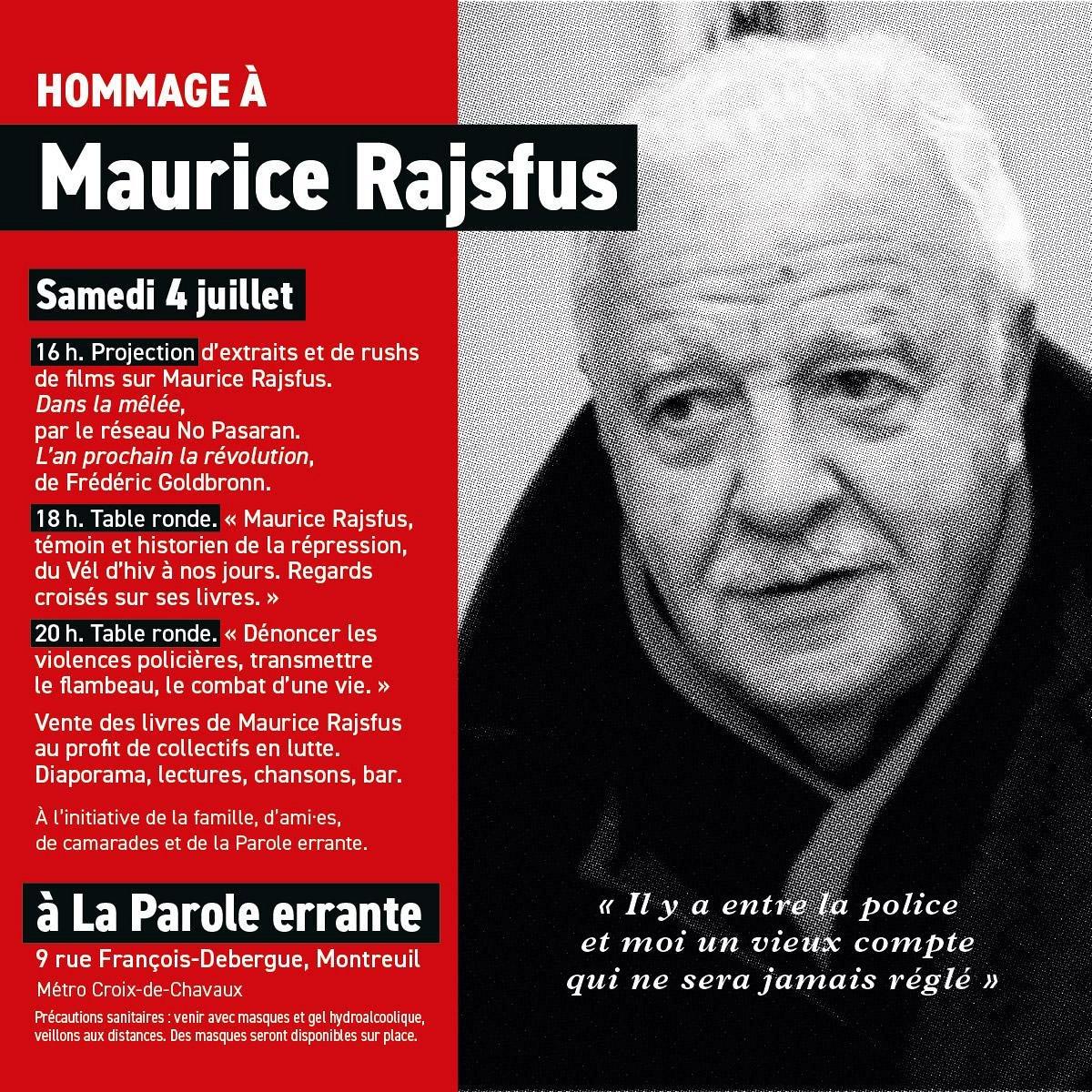 Montreuil : soirée en hommage à Maurice Rajsfus @ La Parole errante